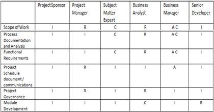 Stakeholder matrix in RACI format